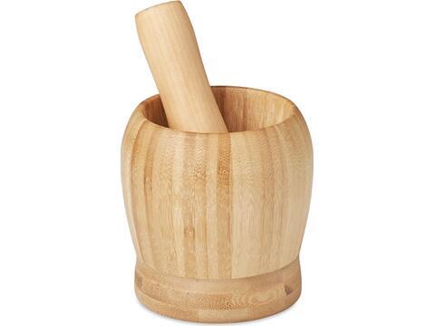 Kruiden vijzel gemaakt van bamboe
