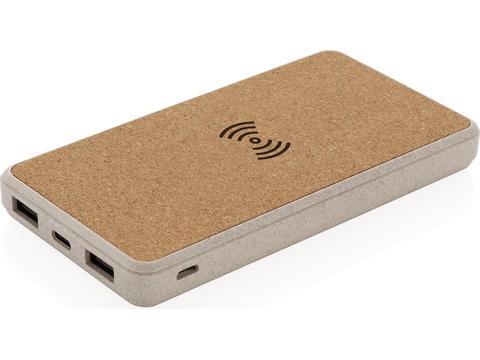 Powerbank 8000 mAh 5W en fibre de paille et liège