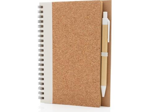 Kurk spiraal notitieboek met pen