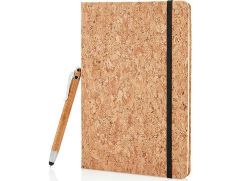 Kurken notitieboek met touchscreen pen