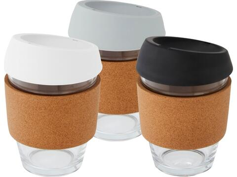 Lidan 360 ml borosilicate glass tumbler with cork grip and silicone lid