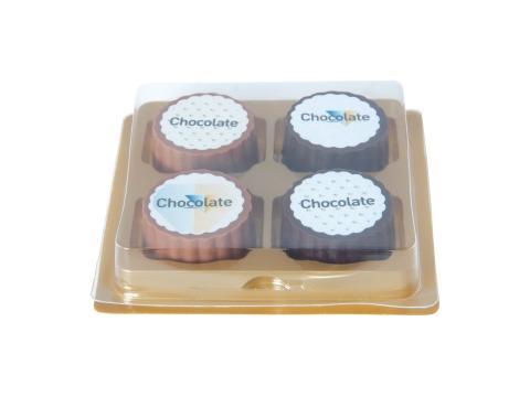 Bonbon-logo en chocolat noir ou au lait avec praliné aux noisettes