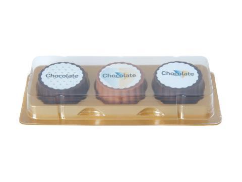Logo bonbon van chocolade met hazelnoot praline - 3 stuks