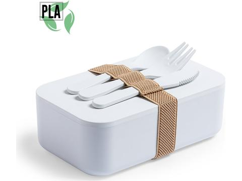 Lunchbox met vork, lepel en mes