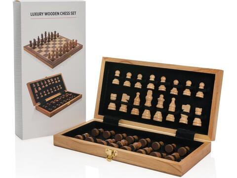 Luxe houten opvouwbare schaakset