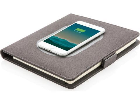Luxe A5 portfolio met draadloze oplader voor smartphone
