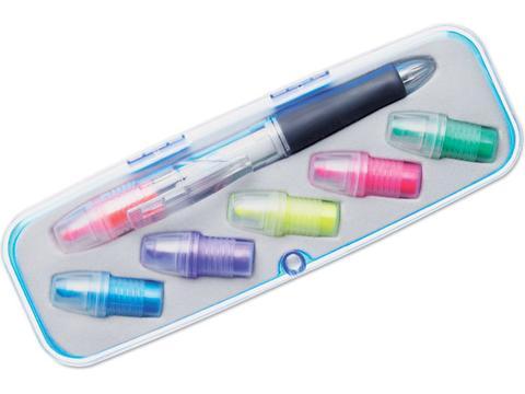 Balpen en markeerstift set met 6 kleuren