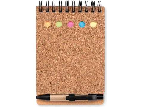 Cork notebook and sticky onotes