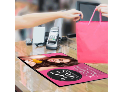 Mesa counter poster display A3