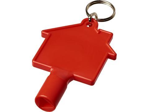 Clé de compteur Maximilian en forme de maison avec porte-clés