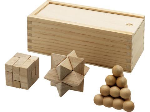 3 Pcs Wooden Brainteasers