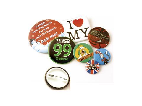 Button badges 38 mm.