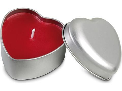 Heart shape candle in tin box