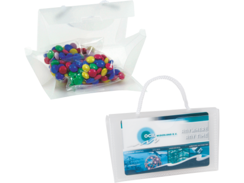 Mini clear bag filled with carletties