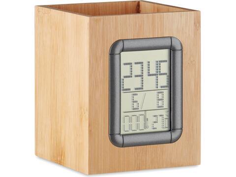 Bamboe pennenbak met LCD klok