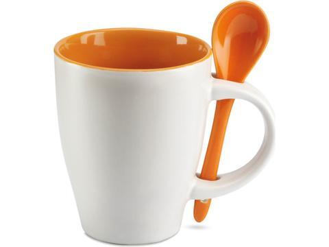 Keramisch koffiemok met lepel - 250 ml