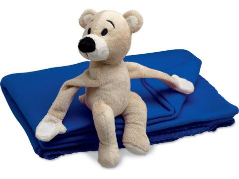 Fleece blanket with teddy bear