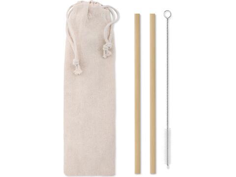 Bamboo rietjes en borstel set