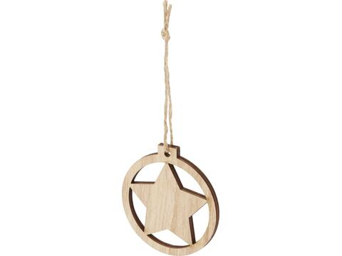 Natall houten kerstster ornament