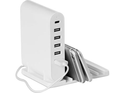 Foldable charging station with 5 port USB hub