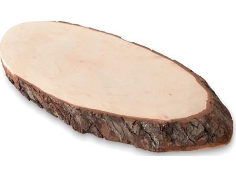 Oval wooden board with bark