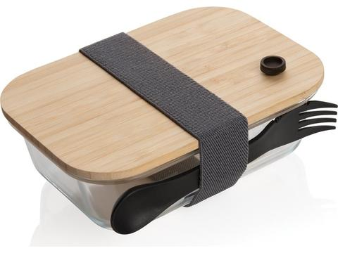 Glass bento box with bamboo lid