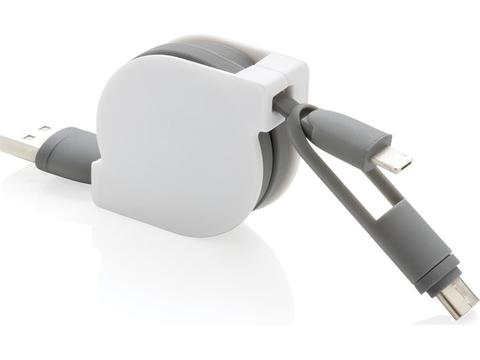 3-in-1 kabel met rolmechanisme