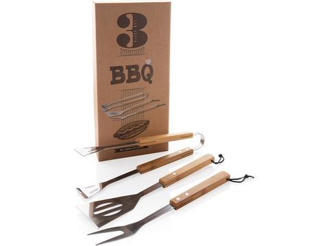 3 pcs bamboo BBQ set