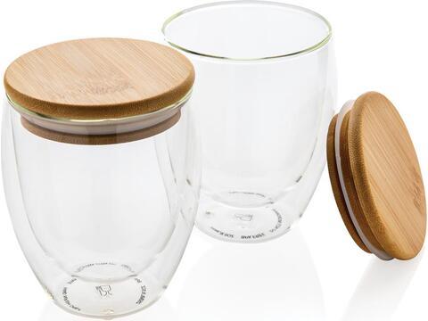 Set de 2 verres double paroi 250ml avec couvercle en bambou
