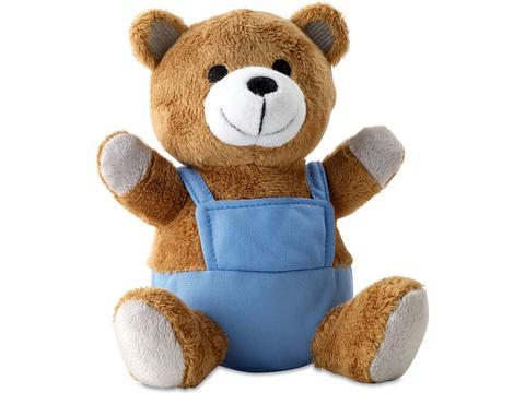 Bear plush with advertising pants