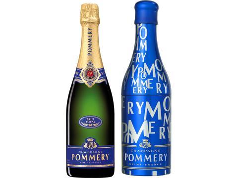 Fles Pommery champagne + originele Pommery geschenkfles