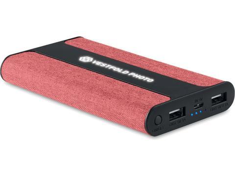 PowerBank PowerFabric met logo verlichting - 6000 mAh