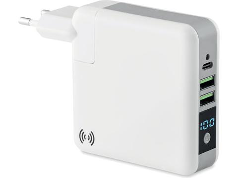 Toppower charging power bank with travel adaptor - 6700 mAh