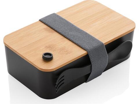 Lunchbox met bamboe deksel en spork