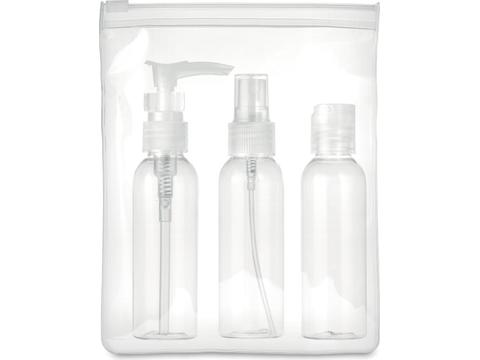 Plane travel pouch with 3 empty bottles