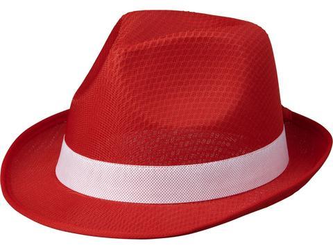 Rode Trilby hoed met gekleurd lint naar keuze