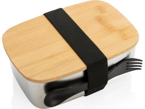 Boîte à Lunch en acier avec couvercle en bambou et cuichette