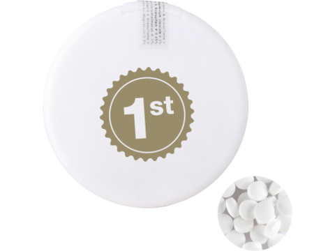 Round mint dispenser with mints
