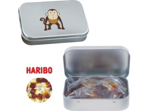 Silver tin with Haribo coke bottles