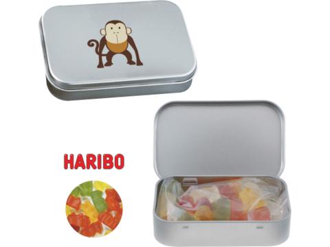 Silver tin with Haribo gummy bears
