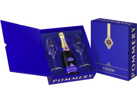 Geschenkpakket Champagne Pommery met 2 Eunology glazen