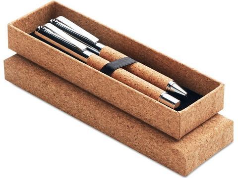 Stylos en métal avec stylo à bille et roller avec corps en liège.