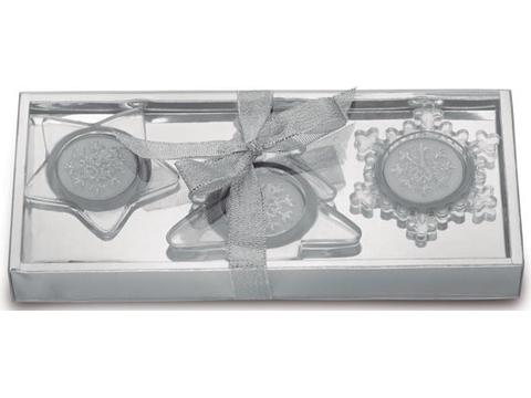 Set of 3 glass candle holders