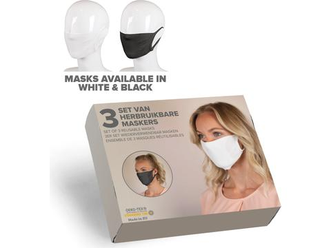 Set of 3 face masks in gift box