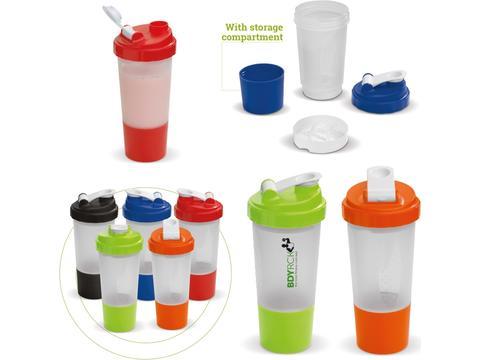 Shaker sportfles met opbergvakje voor sport supplementen - 500 ml