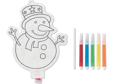 Sneeuwpop om in te kleuren