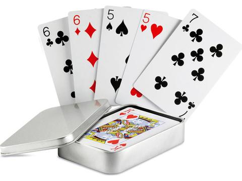 Cartes à jouer boîte étain