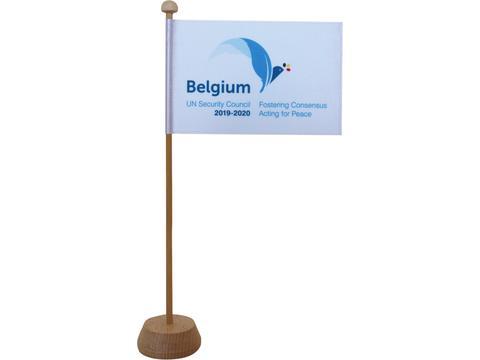 Tafelvlag Satijn 10 x 15 cm met houten standaard