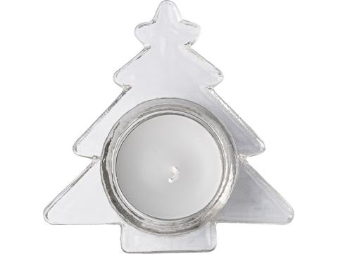 Glass Christmas tree shaped candle holder with white candle