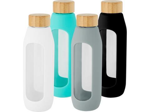 Bouteille Tidan de 600ml en verre borosilicate avec grip en silicone